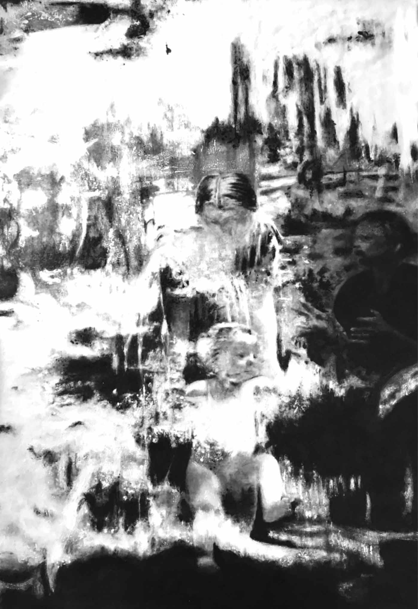 """"""" L'Amour Inconditionnel """"- Encre de Chine noire et blanche sur toile 1.20 X 0.80 - Collection privée -"""