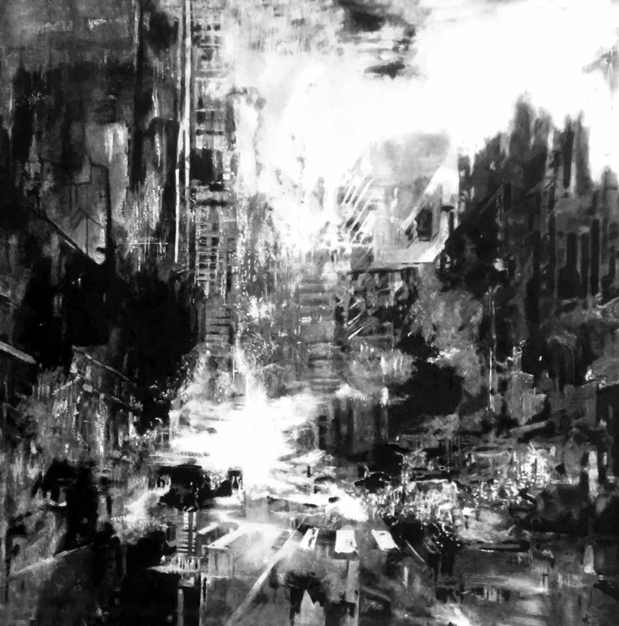 """"""" Ecoute la ville tomber """" - Huile sur Toile 1.12 X 1.12 - Prix sur demande -"""