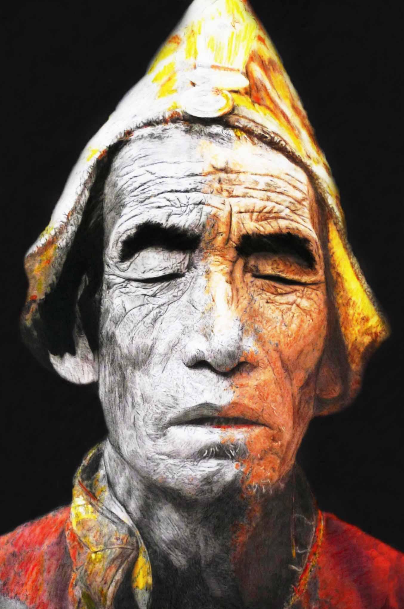 """""""Eloge de la Fuite"""" - Dessin à la pierre noire et aquarelle sur papier Canson - 1.20 X 0.80 - D'après une photographie de Mario GERTH - Version définitive - Prix sur demande -"""