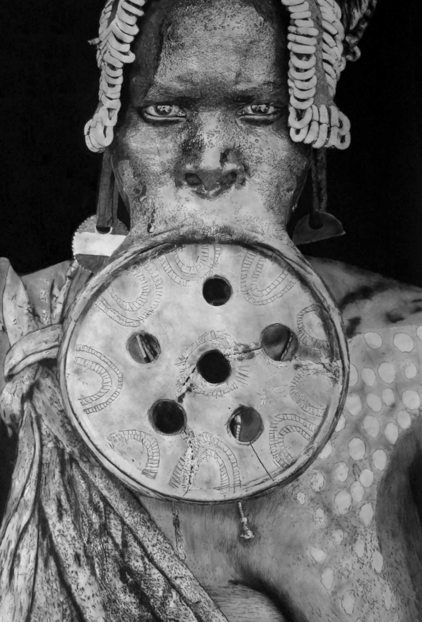 """""""OMO III"""" - Dessin à la pierre noire et fusain sur papier Canson - 1.20 X 0.80 - D'après une photographie de Mario GERTH - Prix sur demande -"""