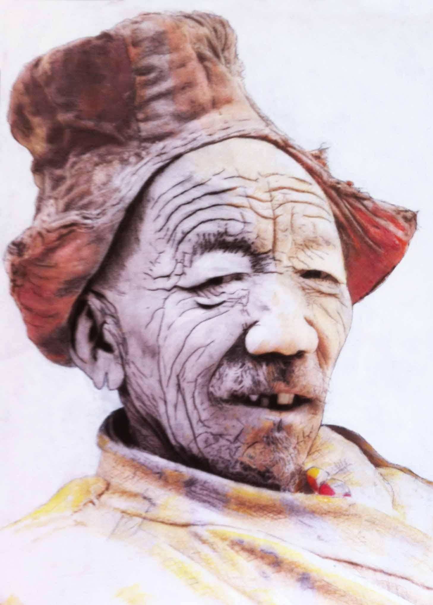 """""""Eloge du sourire""""- Dessin à la pierre noire, fusain et aquarelle sur papier Canson- D'après une photographie de Matthieu RICARD - 0.85 X 0.60 - Collection particulière -"""
