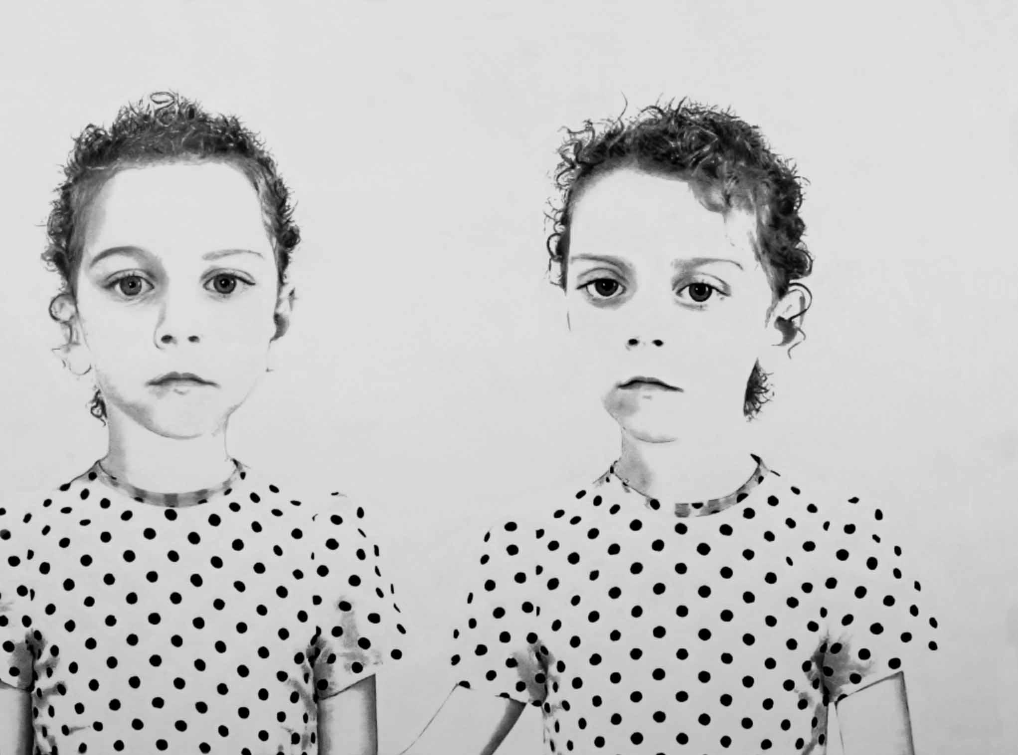 « Les Jumelles » Hommage à Jean Olivier HUCLEUX Dessin au crayon graphite HB avec rehauts de blanc sur papier Canson - 1.00 X 0.75 - Prix sur demande -