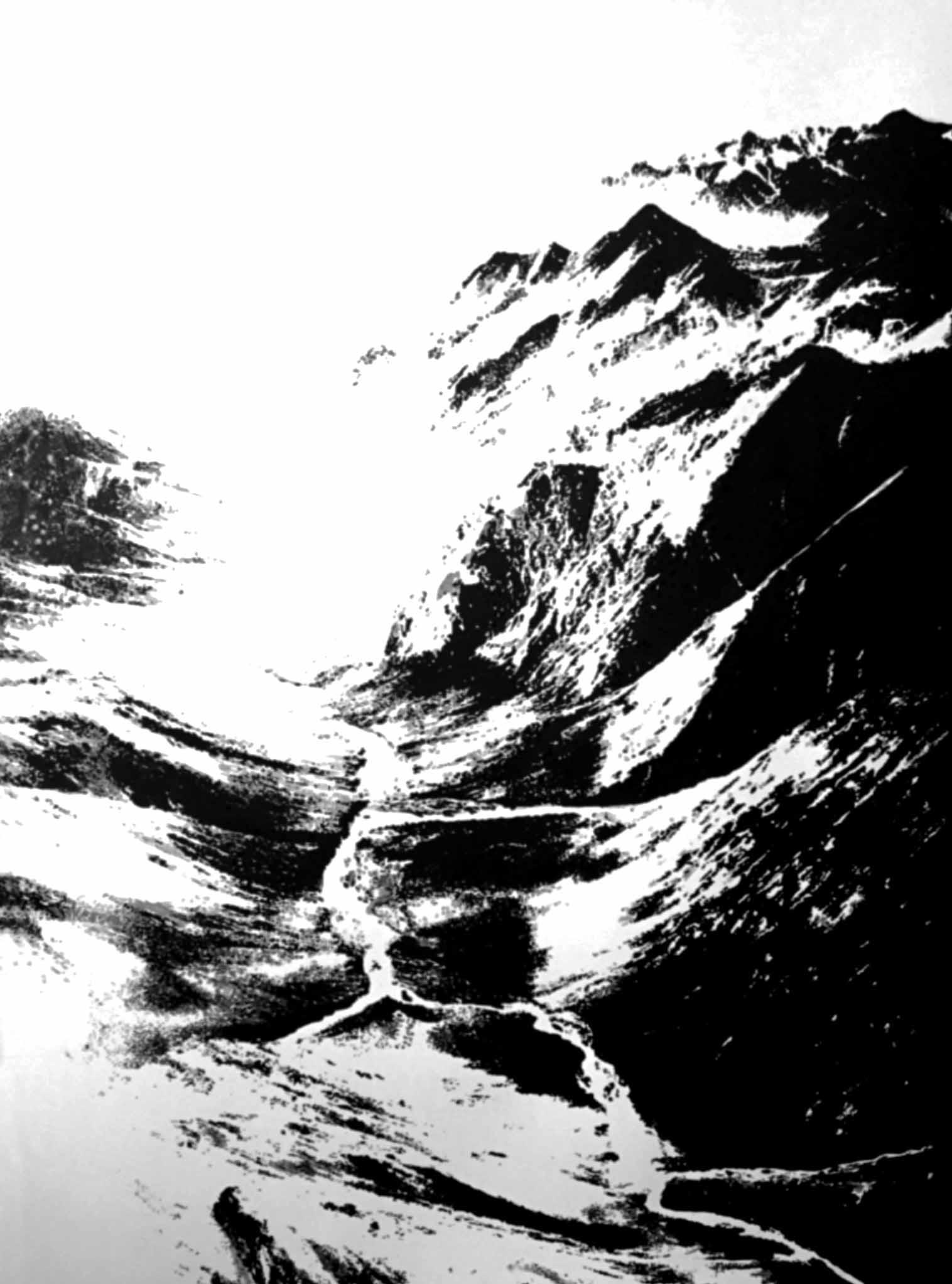 """"""" Au delà des Montagnes """" - Encre de Chine sur papier Canson 1.05 X 0.75 - Prix sur demande -"""
