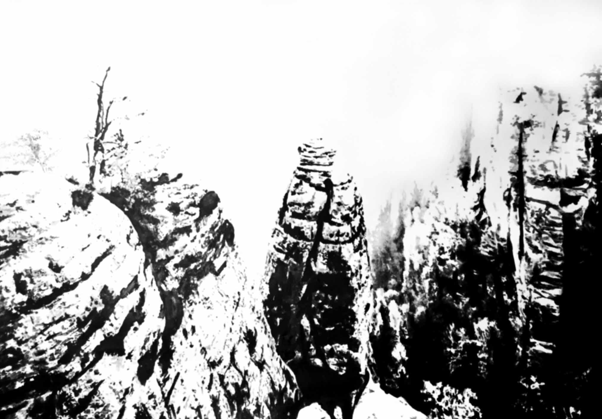 """"""" Au coeur du Canyon """" - Encre de Chine sur papier Canson 1.05 X 0.75 - Prix sur demande -"""