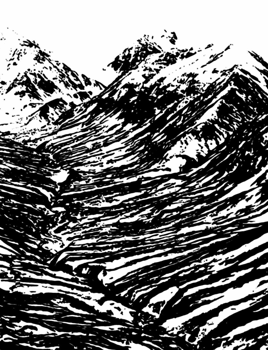 """"""" La Grande Crevasse """" - Encre de Chine sur papier Canson 1.05 X 0.75 - Prix sur demande -"""