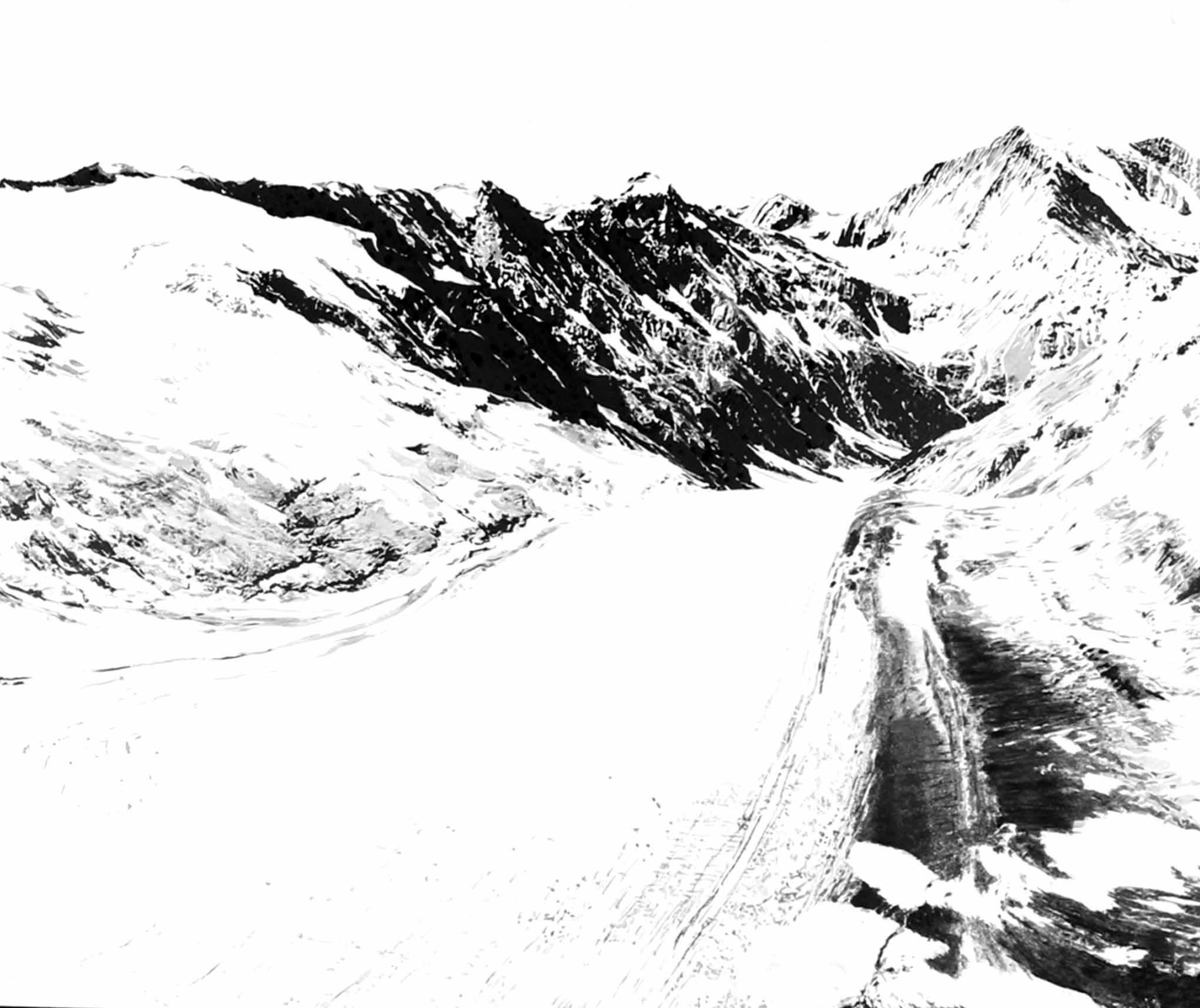 """"""" La Montagne magique """" - Encre de Chine avec rehauts de blanc sur papier Canson 1.00 X 0.75 - Collection Privée -"""
