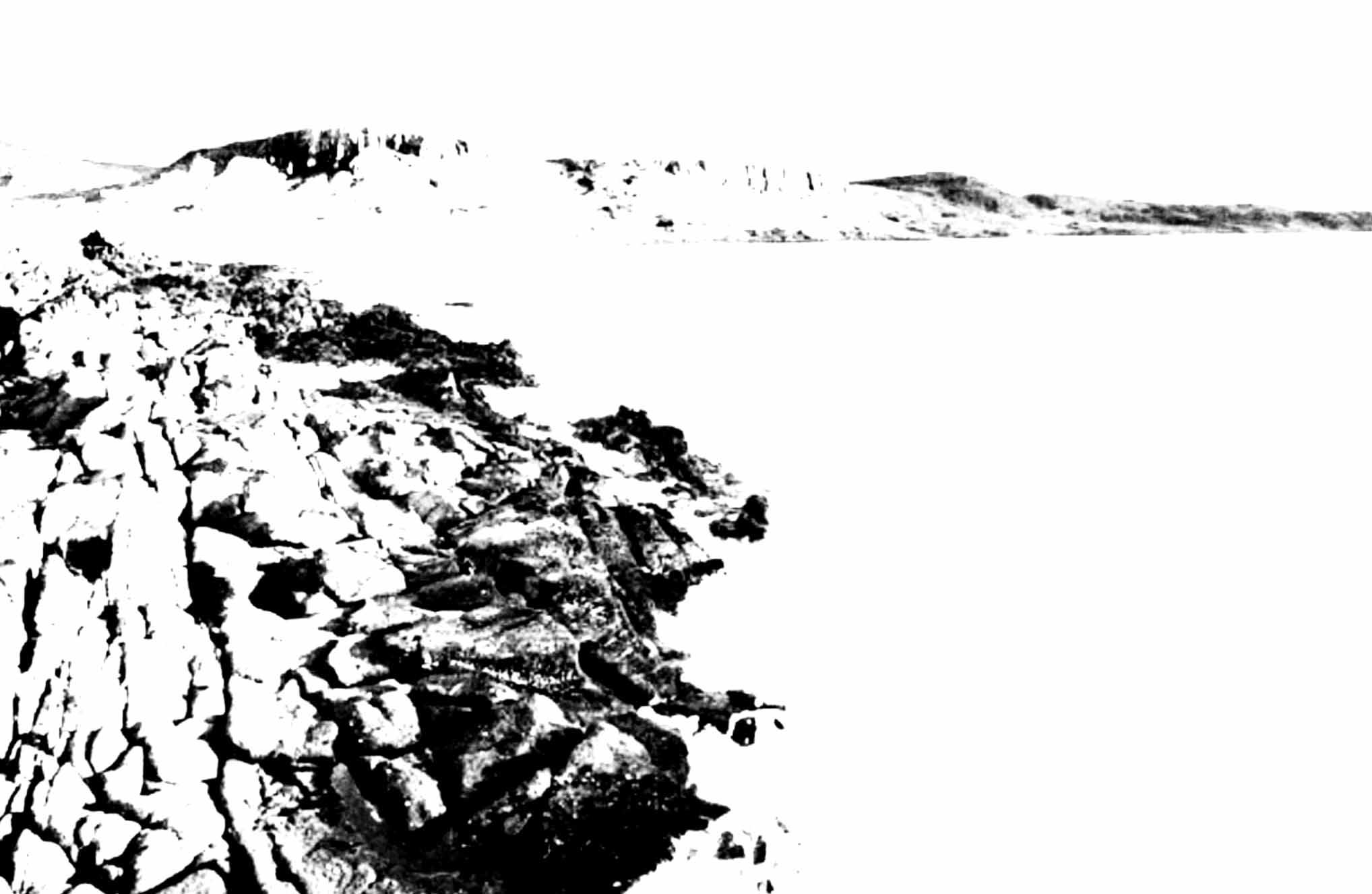 """"""" La Côte d'Emeraude """"- Encre de Chine avec rehauts de blanc sur papier Canson 1.00 X 0.75 - Prix sur demande -"""