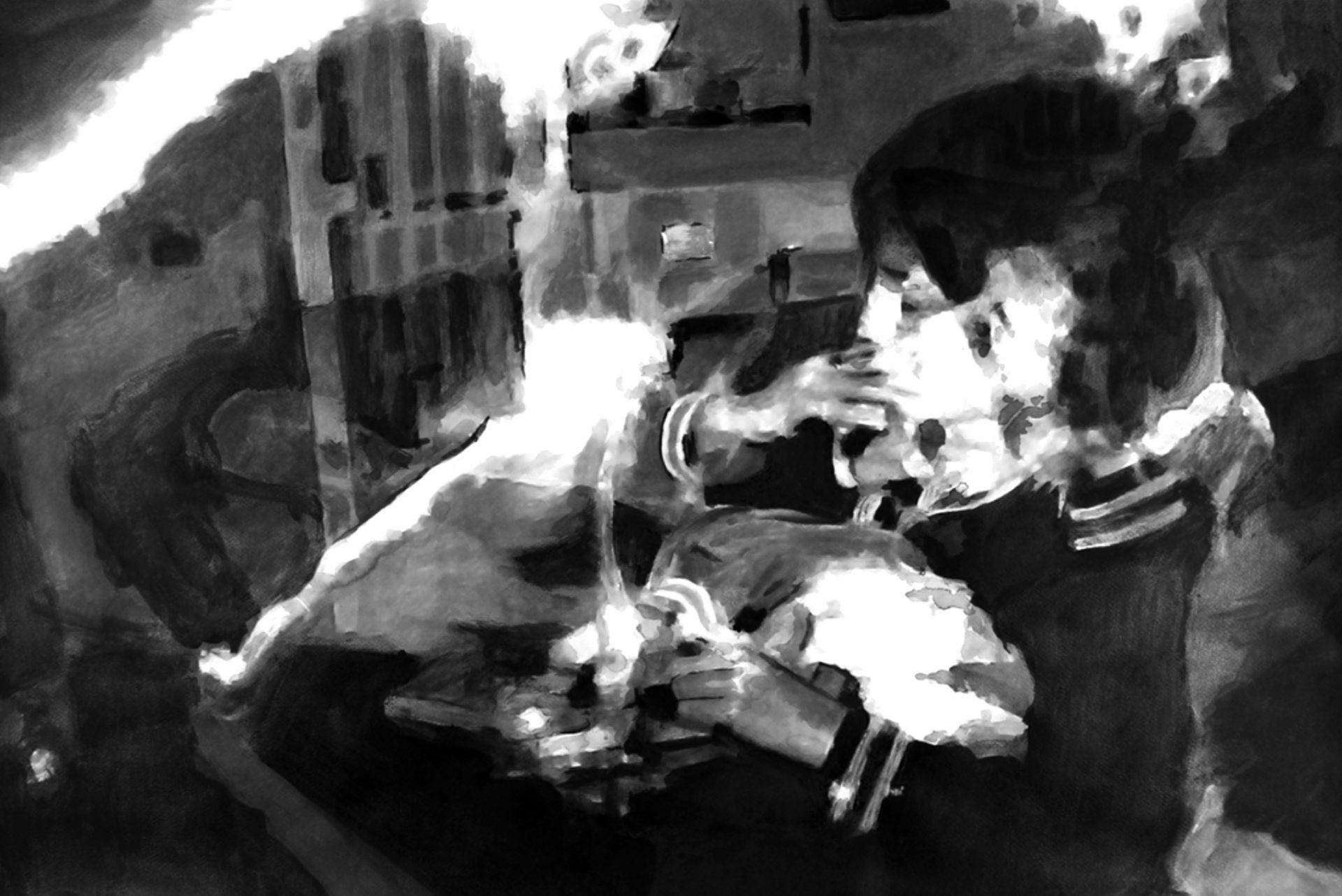 """"""" Les Paradis Artificiels """" -Encre de Chine avec rehauts de blanc sur papier Canson 100 X 0.75 - Prix sur demande -"""