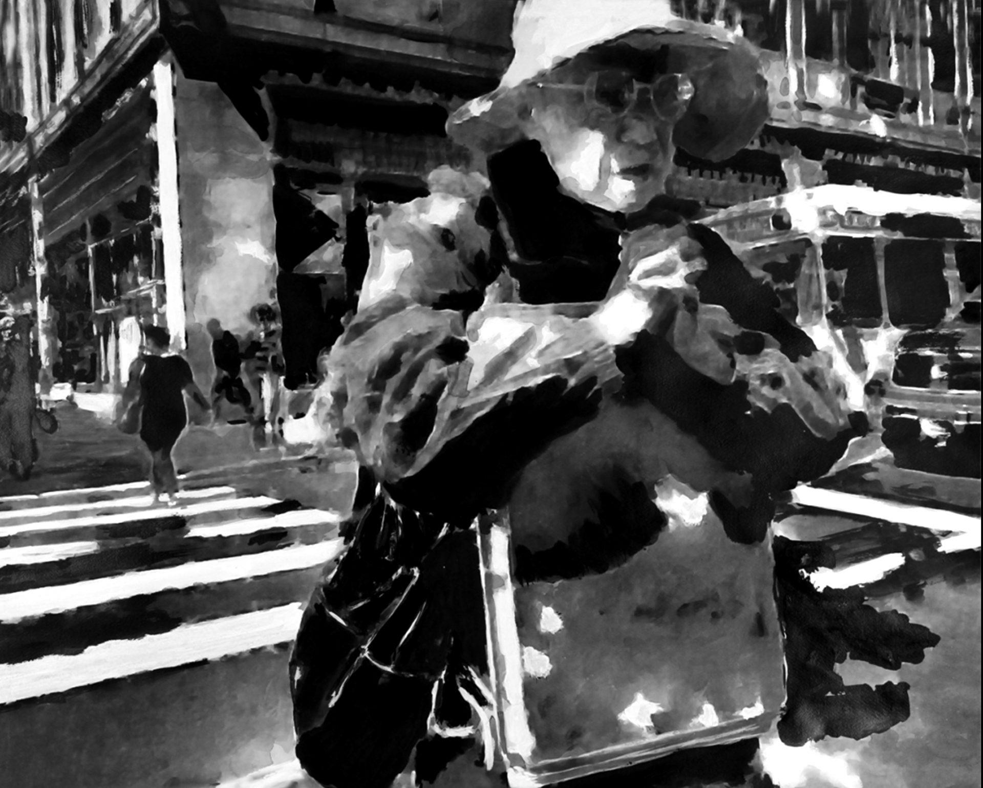 """"""" De la Peur à la Foi """" - Encre de Chine avec rehauts de blanc sur papier Canson 1.00 X 0.75 - Collection particulière -"""