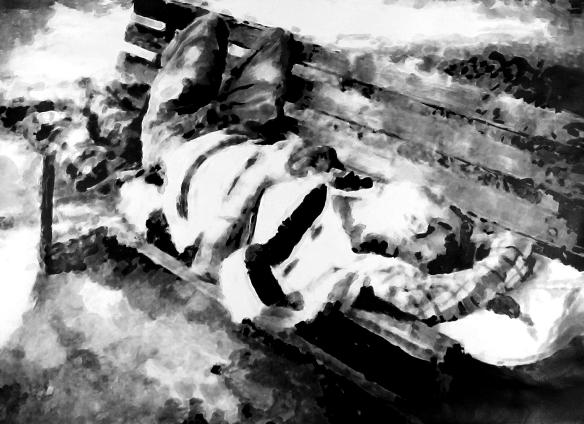 """"""" Eloge de la sieste """" - Encre de Chine avec rehauts de blanc sur papier Canson 100 X 0.75 - Prix sur demande -"""
