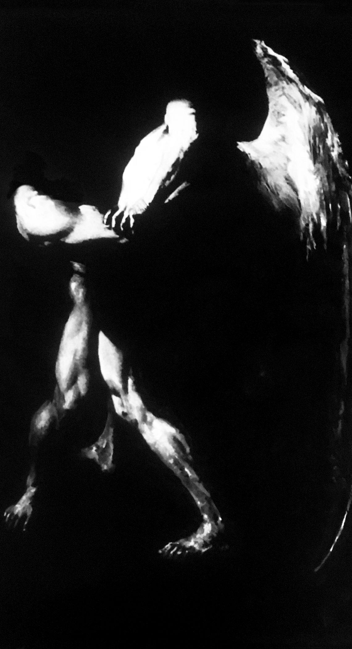 """"""" Le combat de l'Ombre et de la Lumière """" - Huile sur Toile 1.70 X 1.50 - Prix sur demande -Prix sur demande -"""