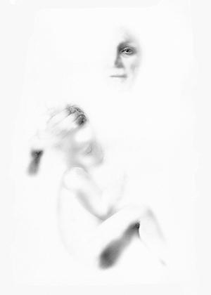 """"""" Les Ailes du désir """" -Encre de Chine avec rehauts de blanc sur papier Canson 1.00 X 0.75 - Prix sur demande -"""